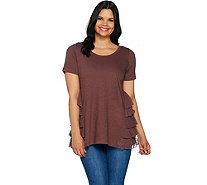 LOGO by Lori Goldstein Cotton Slub Knit Top with Ruffle Godets - A290514