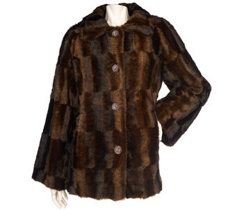 """As Is"" Dennis Basso Faux Fur A-Line Coat with Brushed Pattern - A291514"