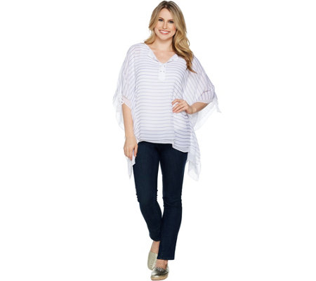 Laurie Felt Stripe Printed Scarf Top