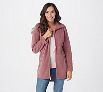 Denim & Co. Fleece Zip Front Long Sleeve Jacket with Hi-Low Hem - A295714