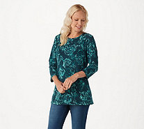Denim & Co. Floral Printed Heavenly Jersey 3/4 Sleeve Knit Top - A296114