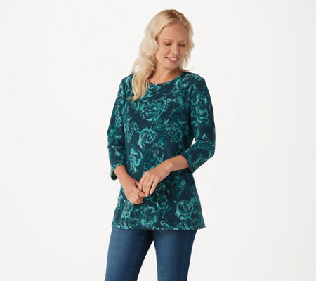 Denim & Co. Floral Printed Brushed Heavenly Jersey 3/4 Sleeve Top