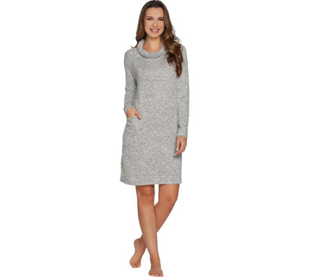 AnyBody Loungewear Brushed Hacci Cowl Neck Dress with Pockets