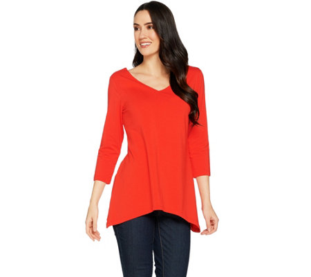 """As Is"" Susan Graver Stretch Cotton Modal Reversible Neckline Top"