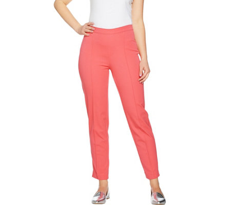 """As Is"" Isaac Mizrahi Live! Regular 24/7 Stretch Ankle Pants w/Pintuck"