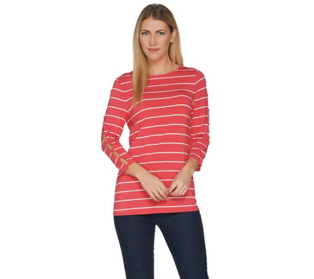 Attitudes by Renee 3/4 Sleeve Striped Top w/ Button Detail