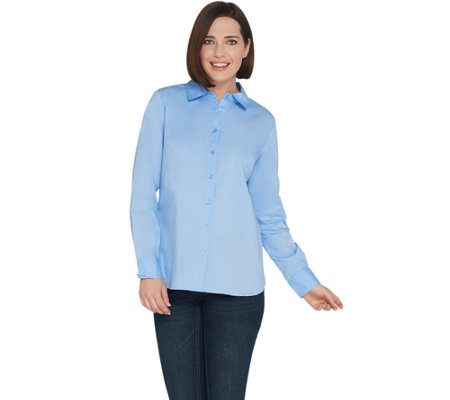 BROOKE SHIELDS Timeless Stretch Poplin Button Front Shirt