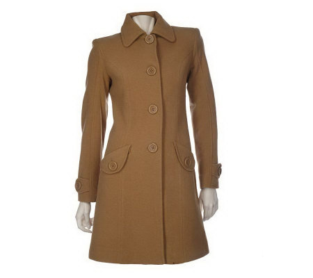 Anne Klein 3/4 Length Button Front Wool Coat