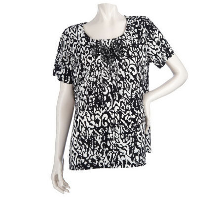 Susan Graver Printed Liquid Knit Top with Embellishment
