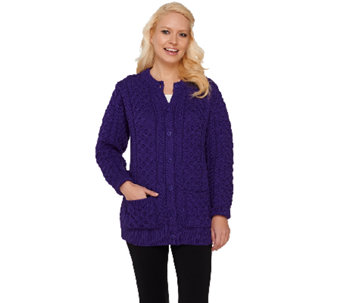 Aran Craft Round Neck Button Front Cardigan - A200715