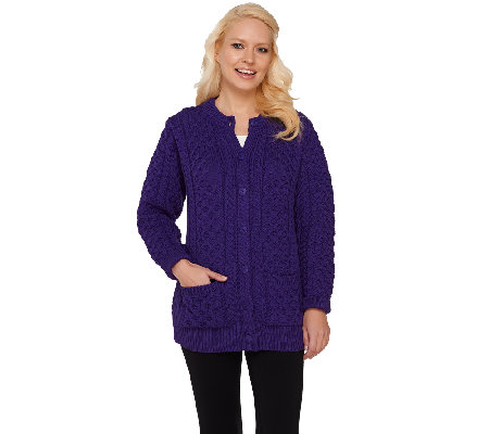 Aran Craft Round Neck Button Front Cardigan