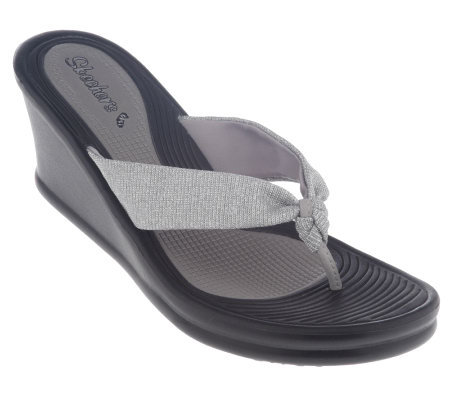 Skechers Glitter Mesh Thong Sandals on Wedge Heel