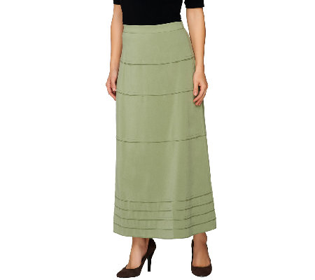 Denim & Co. Faux Suede Tiered Long Skirt - Page 1 — QVC.com
