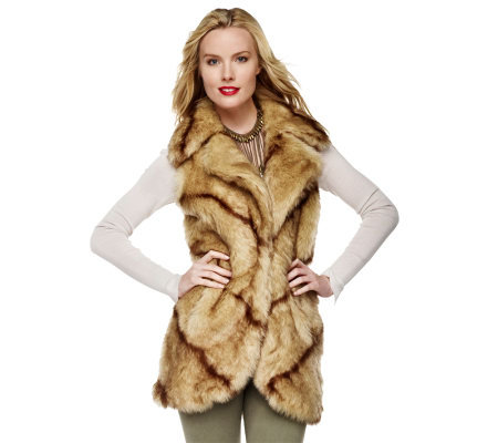 Dennis Basso Faux Fur Notch Collar Vest with Pockets