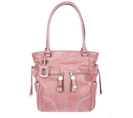 """As Is"" Tignanello Glazed Leather Double Shoulder Tote"