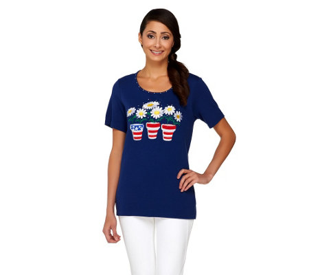 Quacker Factory Red, White, and Bloom Short Sleeve T-shirt