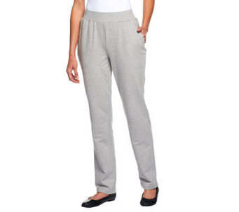 Denim & Co. French Terry Pull-on Pants w/ Ribbed Waistband - A228115