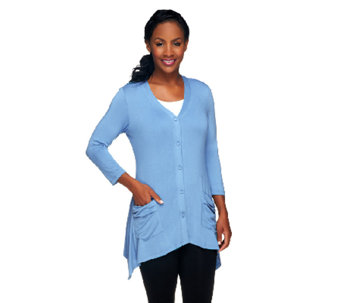 LOGO by Lori Goldstein V-neck Knit Cardigan with Pockets - A231815