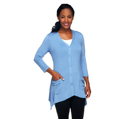 LOGO by Lori Goldstein V-neck Knit Cardigan with Pockets