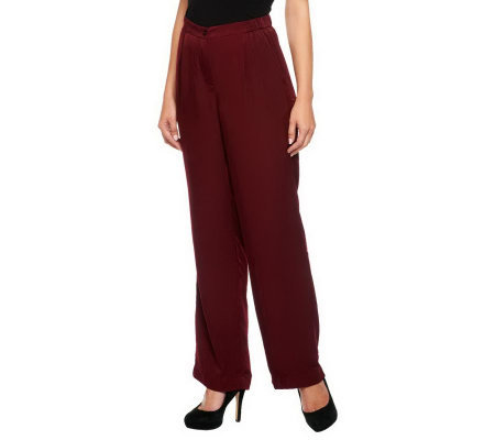 Linea by Louis Dell'Olio Woven Fly Front Pants w/ Side Pockets