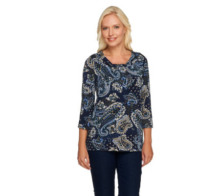 Susan Graver Liquid Knit 3/4 Sleeve Printed Top w/ Neck Gathers