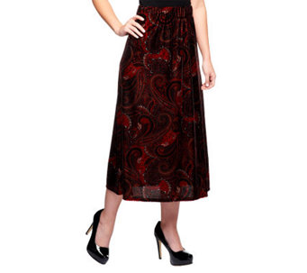 Susan Graver Printed Velvet Pull-on Long Skirt - A239215