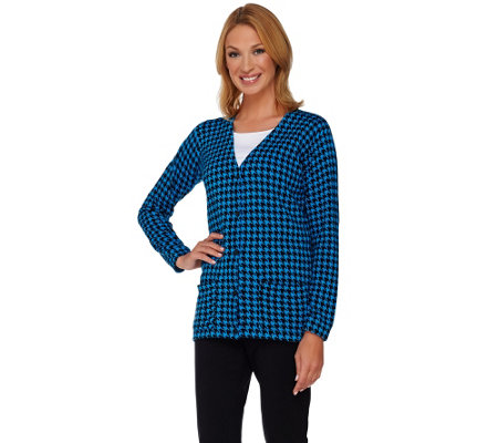Joan Rivers Houndstooth Long Sleeve Boyfriend Cardigan