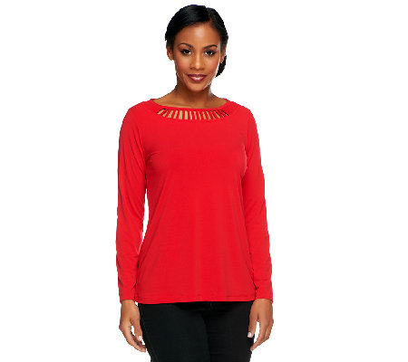 Susan Graver Liquid Knit Scoop Neck Top with Cutout Detail