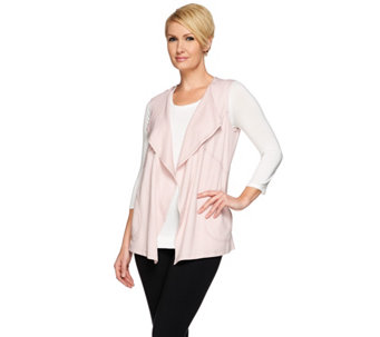 LOGO Lounge by Lori Goldstein Cascade Vest w/ Coverstitched Pockets - A251915