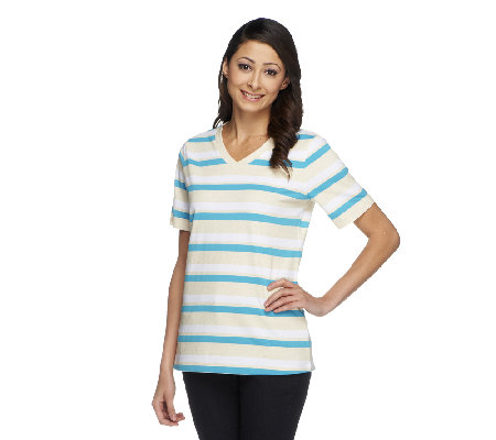 Denim & Co. Perfect Jersey Stripe Short Sleeve Top