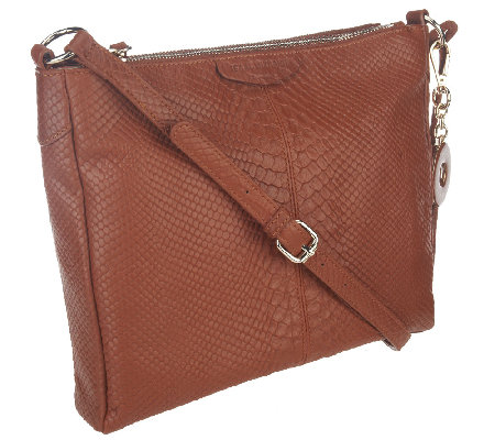 Isaac Mizrahi Live! Bridgehampton Leather Snake Double Zip Bag