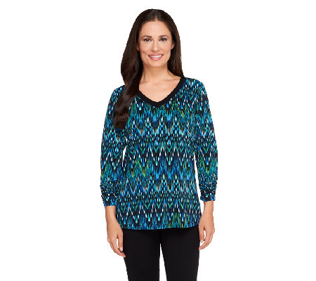 Susan Graver Printed Liquid Knit 3/4 Ruched Sleeve V-Neck Top