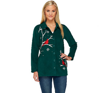 Quacker Factory Winter Birds Embroidered Fleece Jacket - A259315