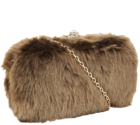 Joan Rivers Red Carpet Faux Fur Clutch with Removable Chain Strap