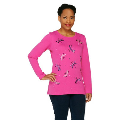 Quacker Factory Sequin & Bead Dragonfly Long Sleeve Shirt