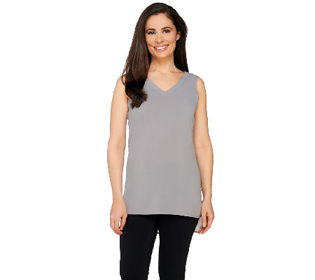 Susan Graver Stretch Woven V-Neck Tank with Hi-Low Hem