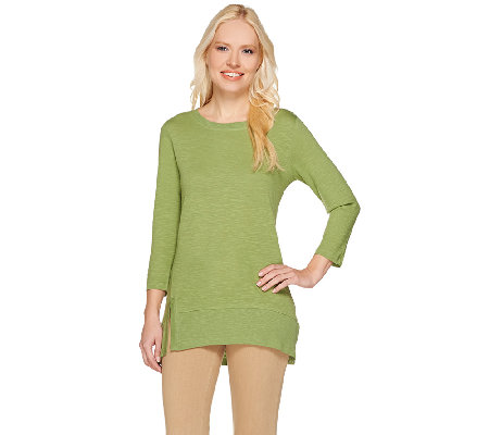 LOGO by Lori Goldstein 3/4 Sleeve Knit Top with Split Ribbed Hem