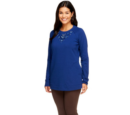"""As Is"" Susan Graver French Terry Embellished Tunic"
