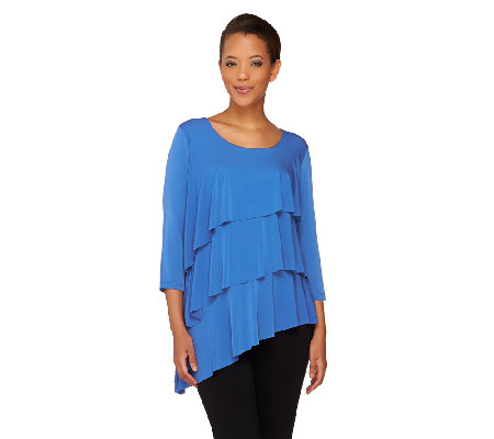 Susan Graver Liquid Knit Asymmetric Hem Tiered Tunic