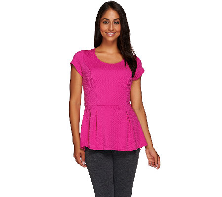 George Simonton Textured Knit Scoop Neck Peplum Top with Cap Sleeve