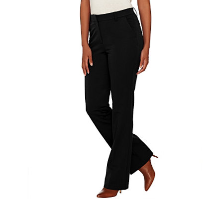 Isaac Mizrahi Live! Petite 24/7 Stretch Boot Cut Fly Front Pants