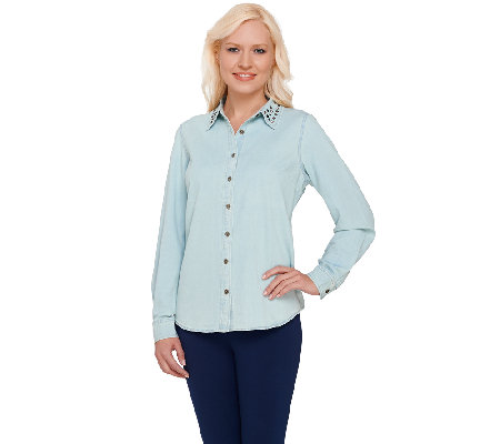Denim & Co. Stretch Denim Shirt w/ Studded Collar Detail