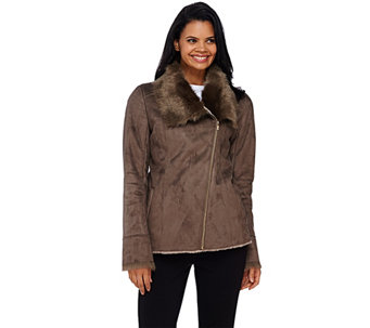 Dennis Basso Faux Shearling Jacket with Faux Fur Collar & Cuffs - A268815