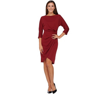 H by Halston Dolman Sleeve Dress with Knotted Waist Detail - A269415