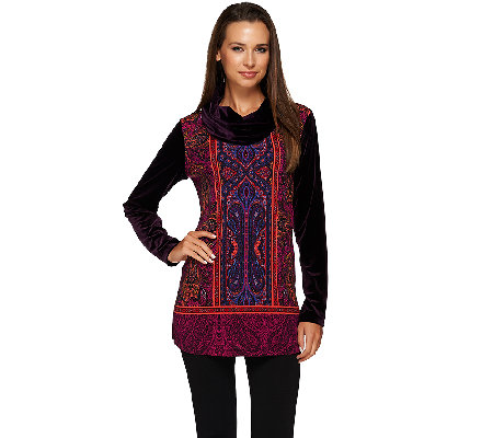 Susan Graver Printed Liquid Knit Tunic with Velvet Sleeves & Cowl Neck