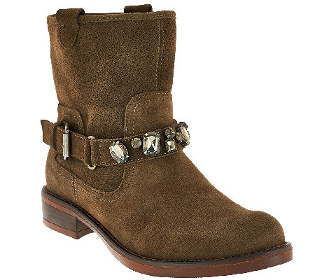 Kensie Suede Ankle Boots with Embellished Strap - Squire