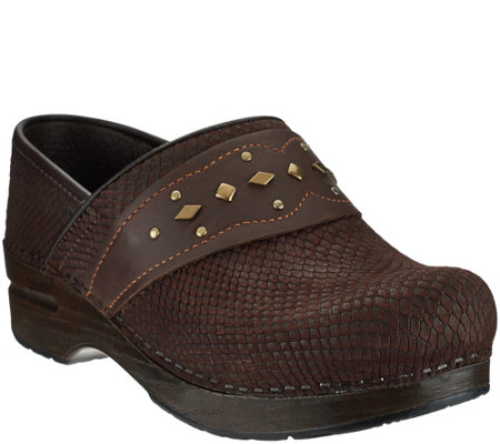 Dansko Leather Stain Resistant Clogs with Embellished Strap -Pavan