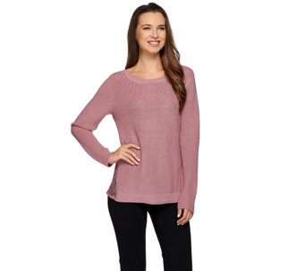 H by Halston Ribbed Sweater with Lace Side Panel Insets - A271115