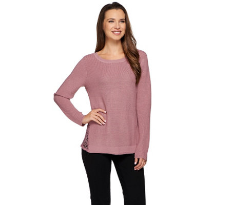 H by Halston Ribbed Sweater with Lace Side Panel Insets