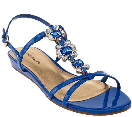 """As Is"" Marc Fisher Jeweled Sandals with Backstrap - Peple"
